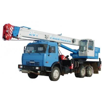 Аренда крана 25 тн «Галичанин» (длина стрелы 22 метра) на базе а/м КамАЗ